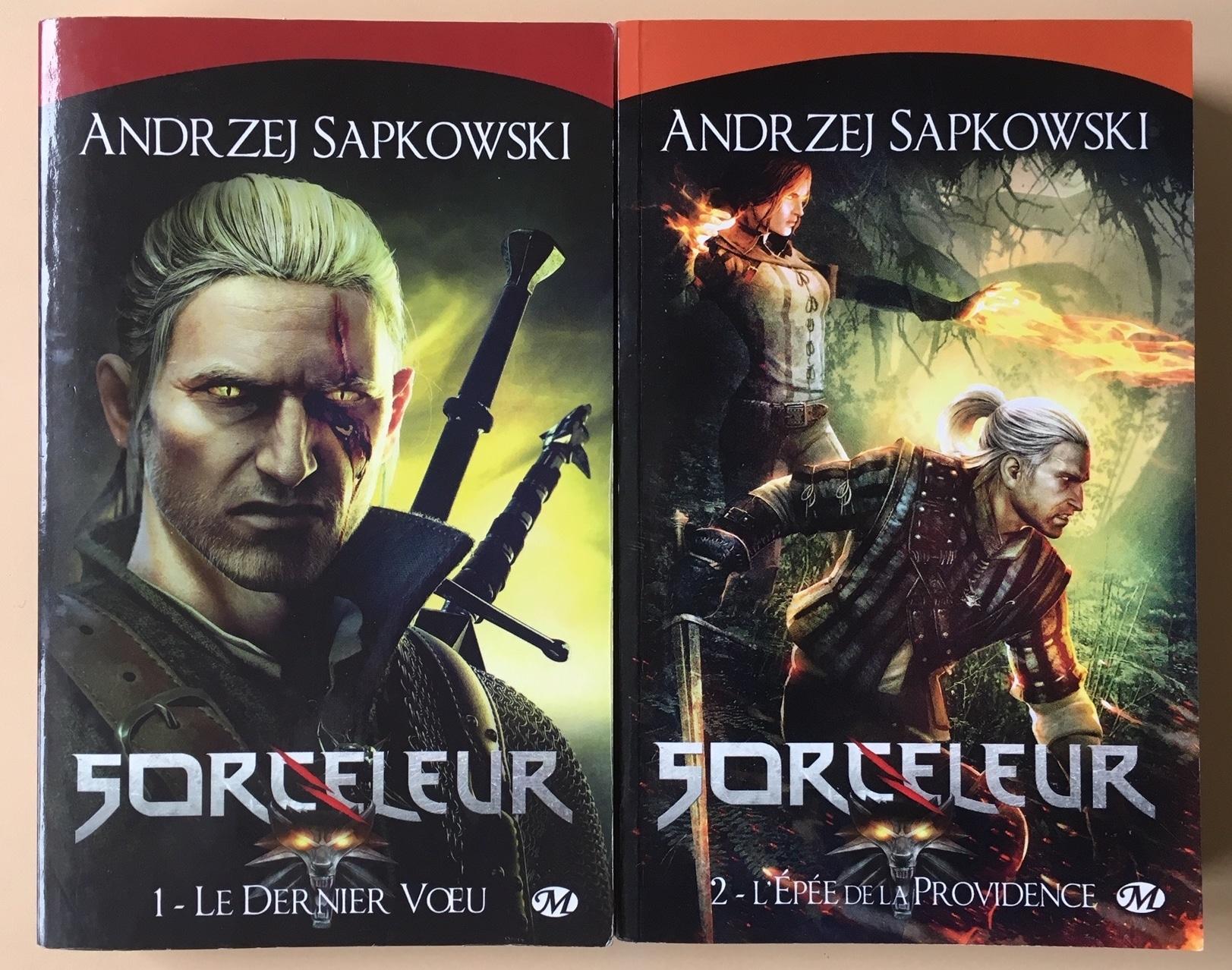 Couvertures des deux premiers tomes de la saga du Sorceleur d'Andrzej Sapkowski, parus chez Milady