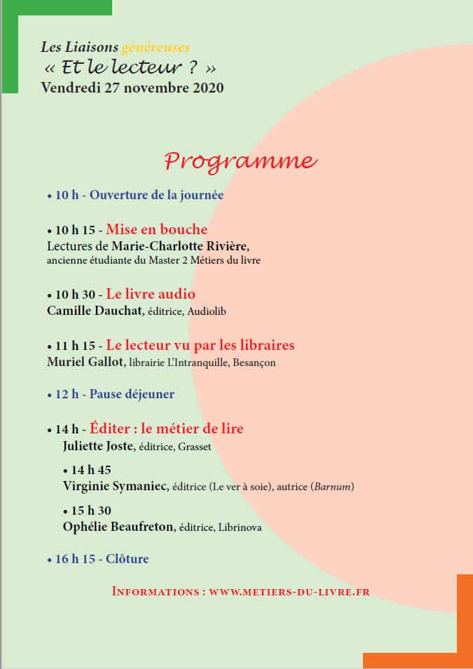 """programme de la journée d'étude 2020 du master 2 métiers du livre à Dijon, intitulée """"Et le lecteur ?"""""""