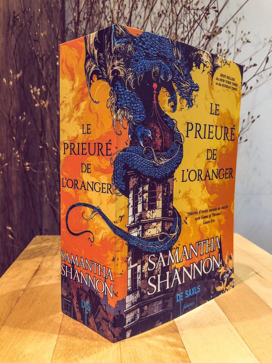 Photo du livre, debout sur une table. La couverture représente un dragon bleu enroulé autour d'une tour, sur fond jaune-oranger, avec le titre et le nom de l'autrice