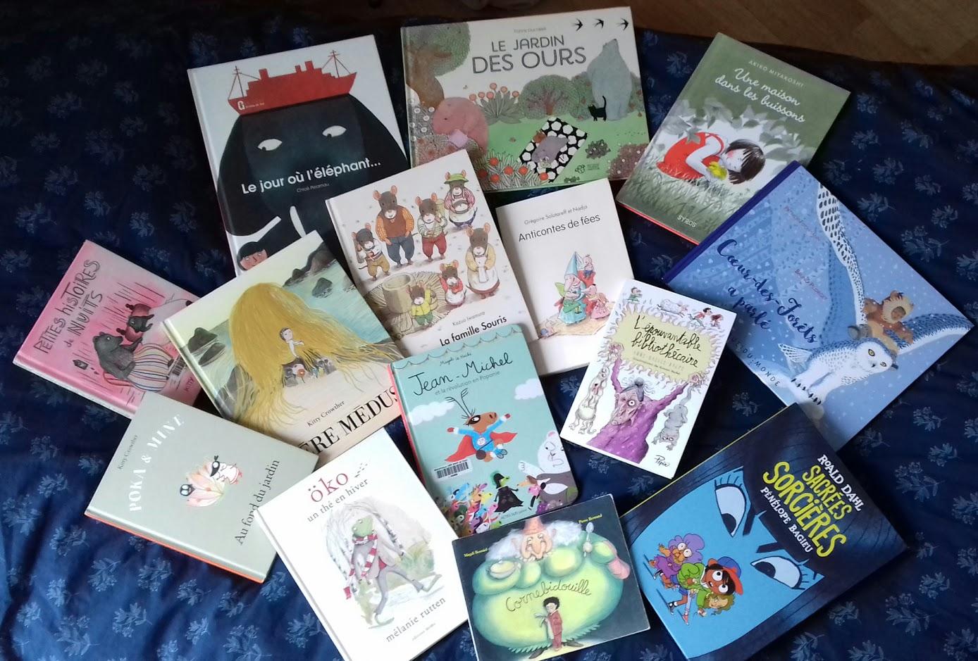 Quelques premières de couverture de livres jeunesse publiés par différents éditeurs
